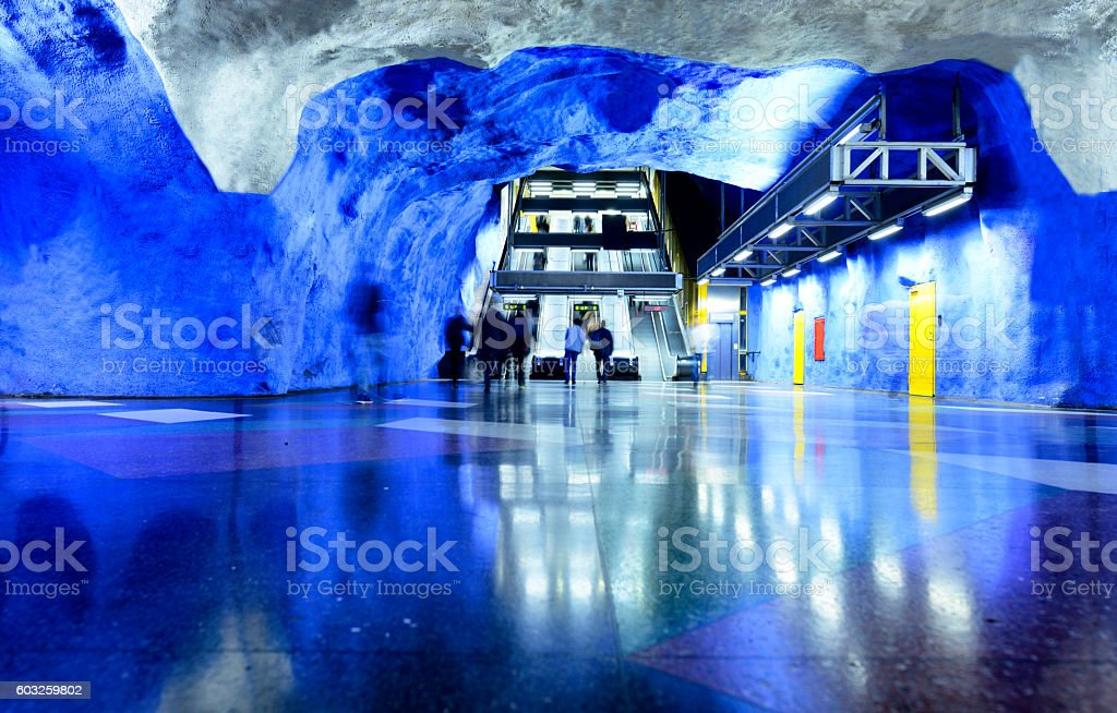 Commuters in subway station. Stockholm stock photo