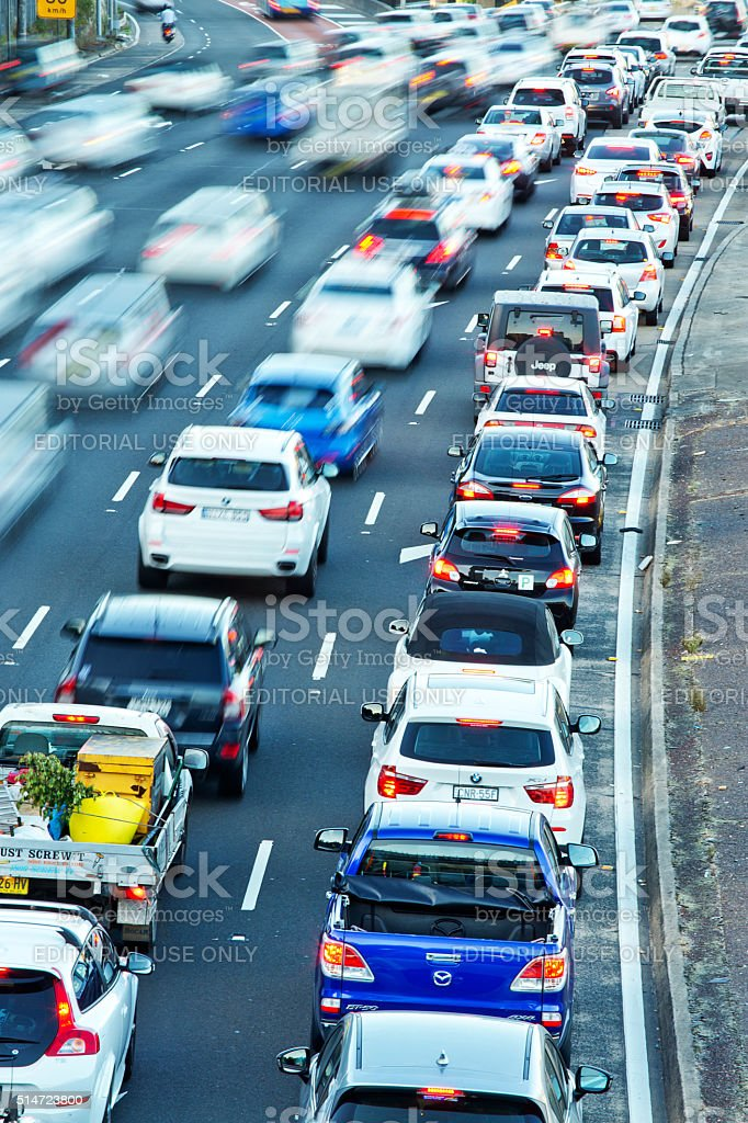 Commuters in their cars in the Sydney rush hour stock photo