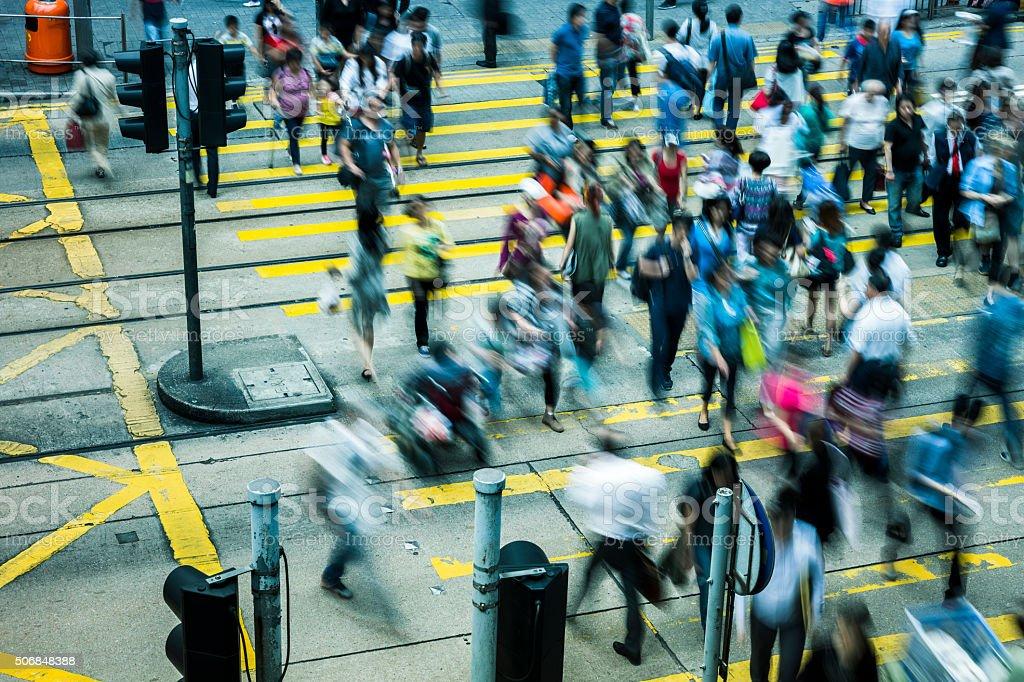 Commuters of hong kong stock photo