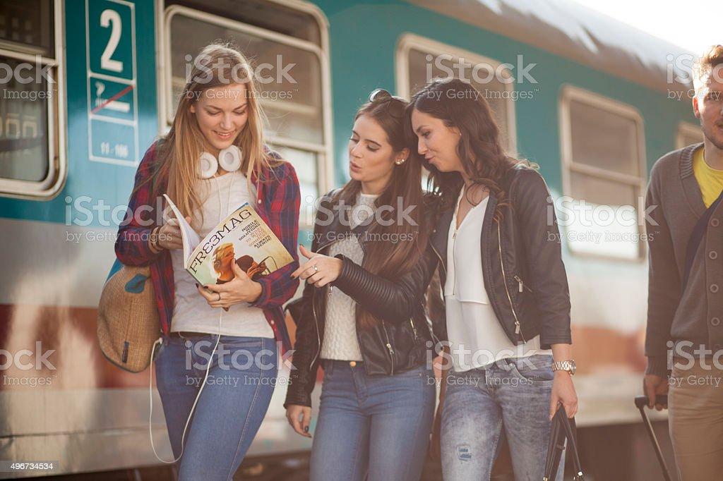 Commuters on a station platform stock photo