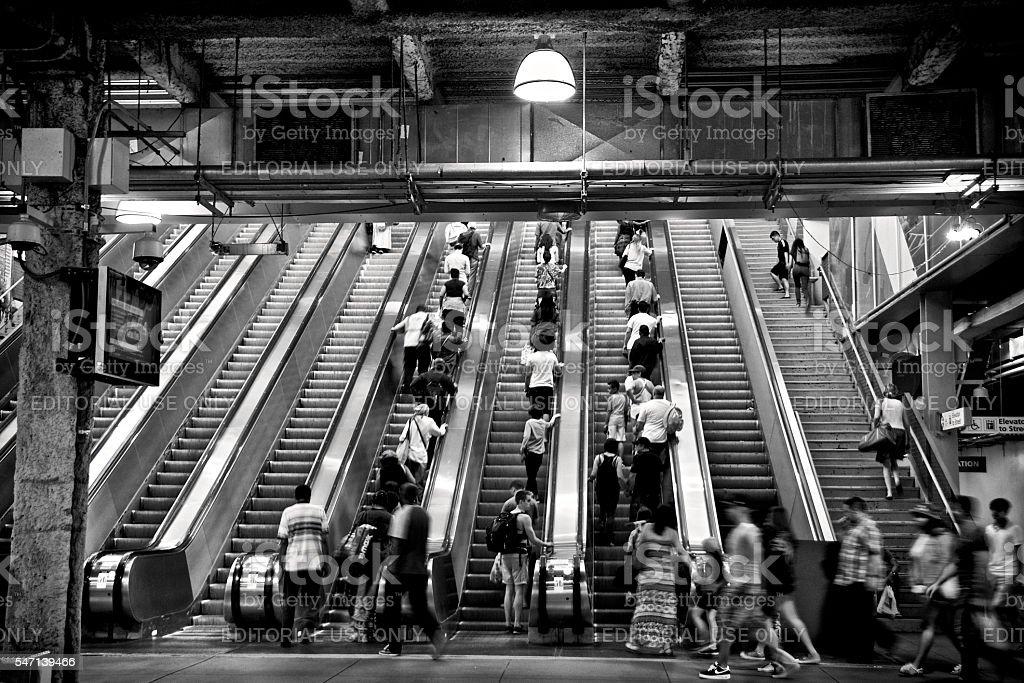 Commuters on Escalator, Transportation Hub, Lower Manhattan, New York City stock photo