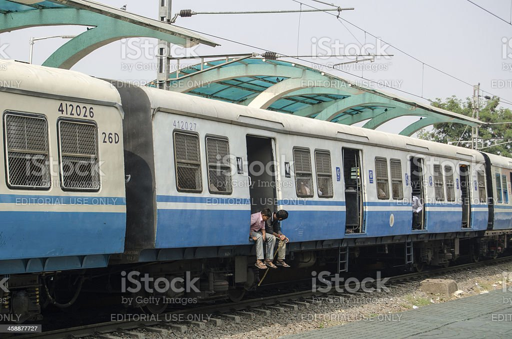 Commuters on Indian Train royalty-free stock photo