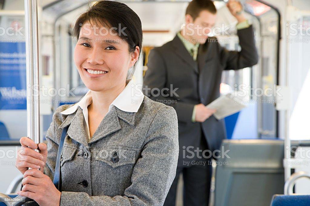Commuters on light rail stock photo