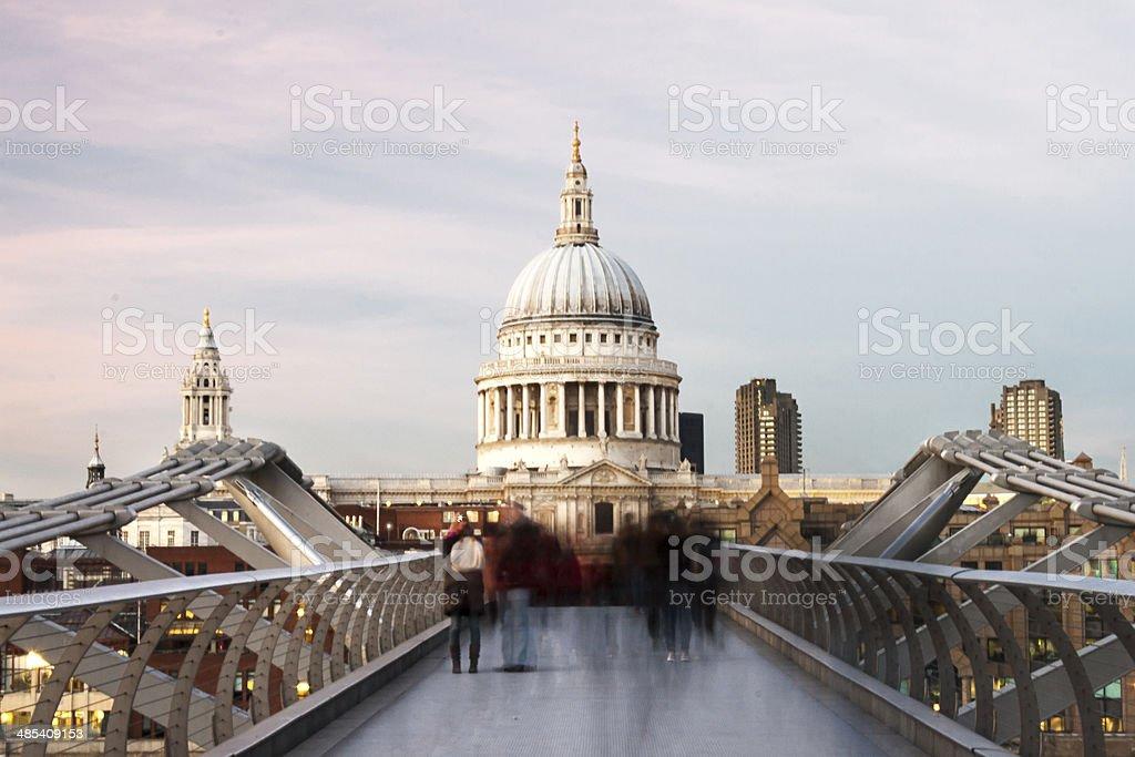 Commuters On The Bridge stock photo
