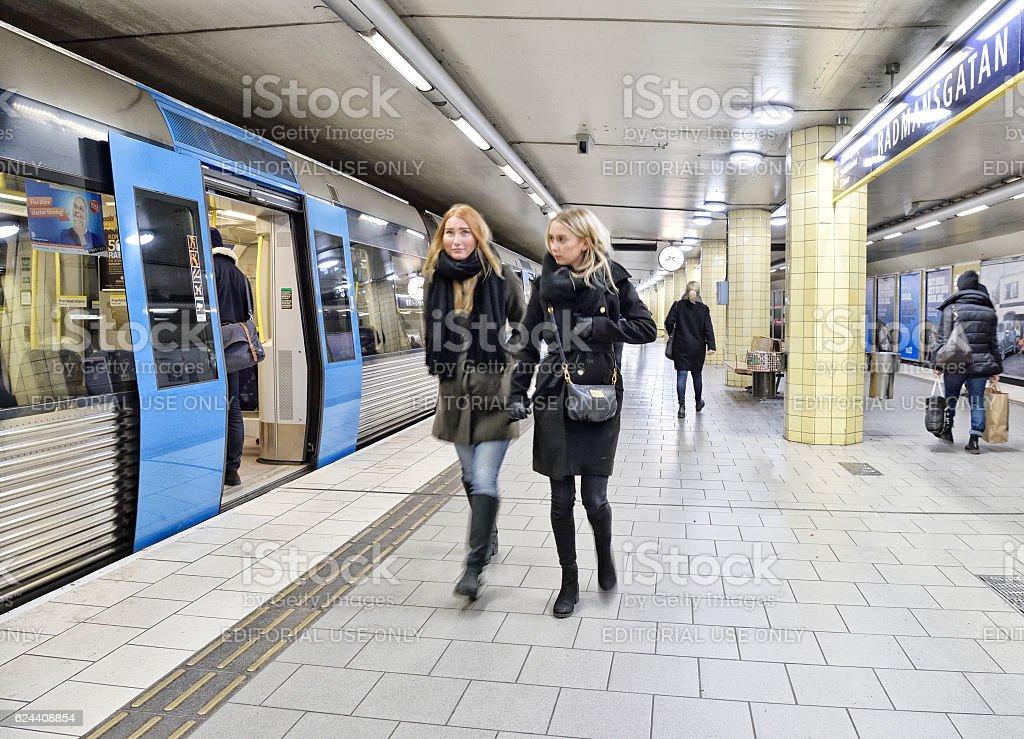Commuters on underground station Radmansgatan stock photo