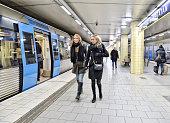 Commuters on underground station Radmansgatan