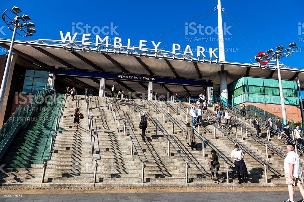 Commuters outside Wembley Park train station, London, UK stock photo