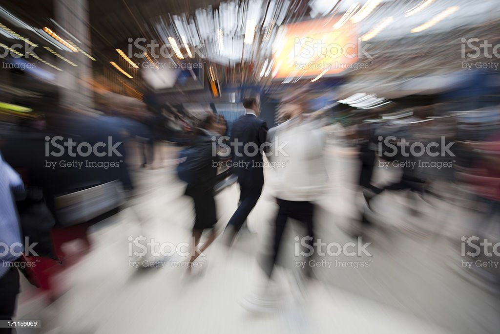 Commuters Rushing in Train Station, Blurred Motion, London, UK stock photo