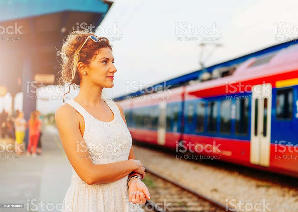 Commuters using railway service for quick transportation stock photo