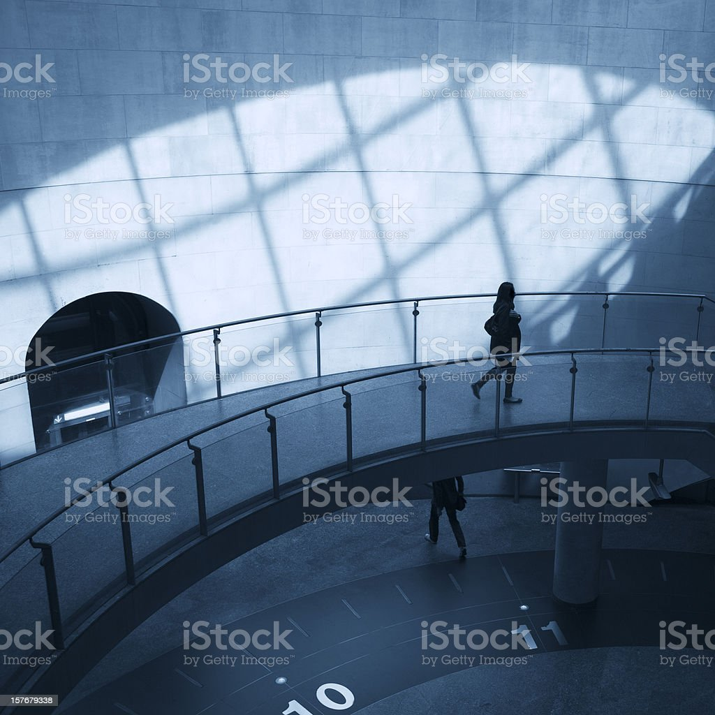 Commuters walking in modern station Saint-Lazare, Paris, France royalty-free stock photo
