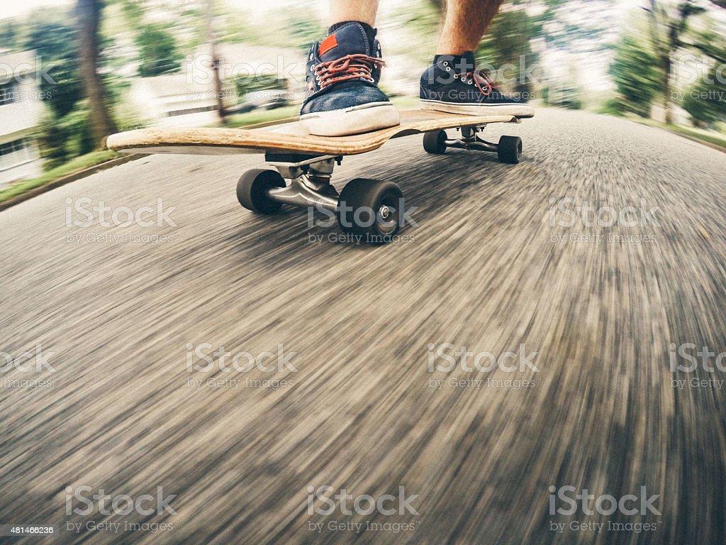 Commuting on a Skateboard stock photo