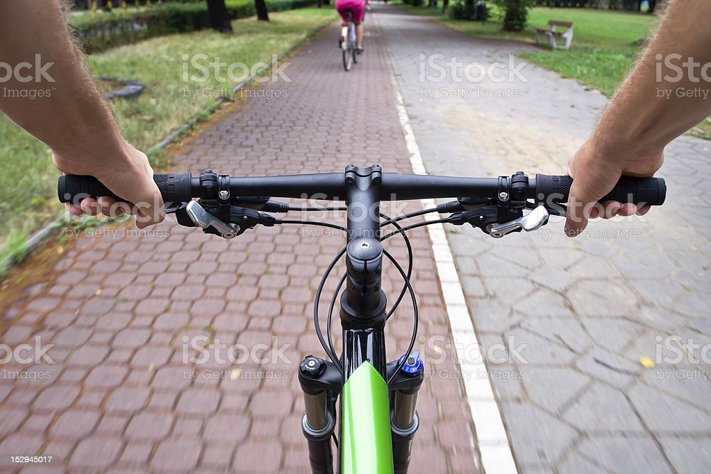 Commuting on bicycle path stock photo