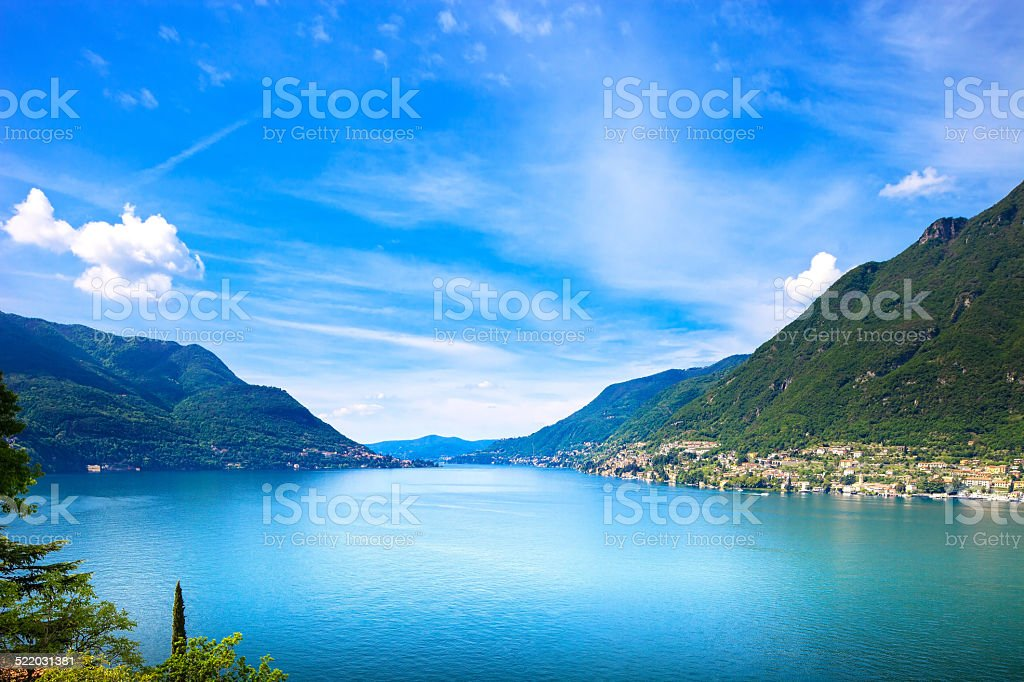 Como Lake landscape. Cernobbio village view, Italy stock photo