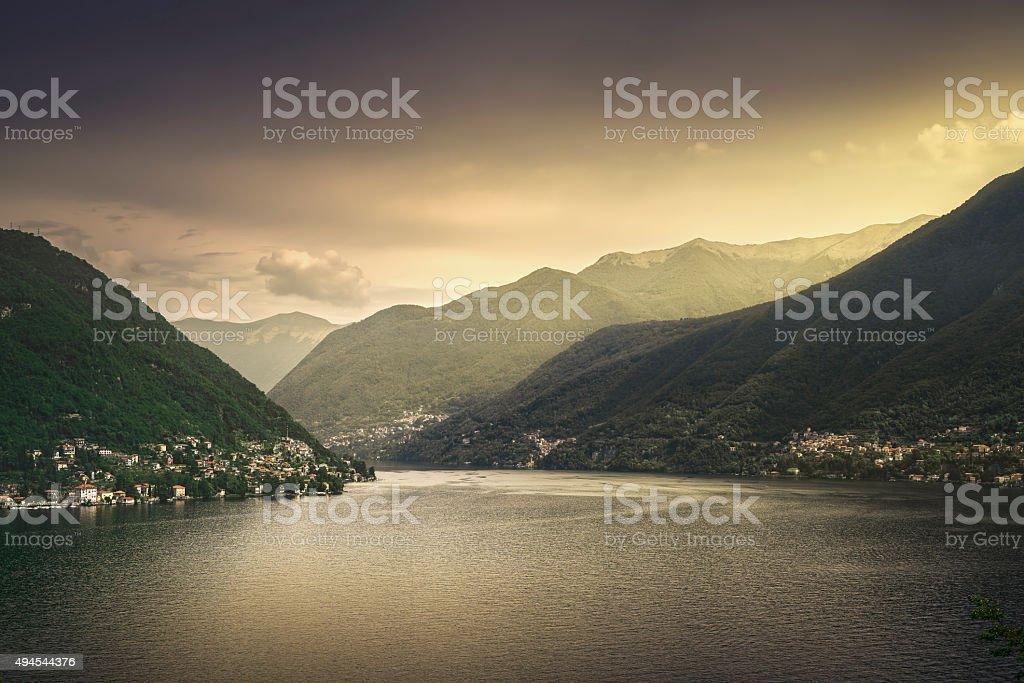 Como Lake landscape. Village view, Italy stock photo