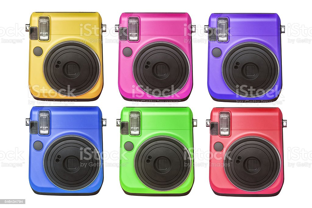 compact digital cameras of various colors isolated on white background stock photo