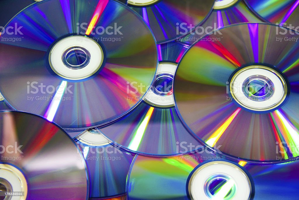compact discs with colour light royalty-free stock photo
