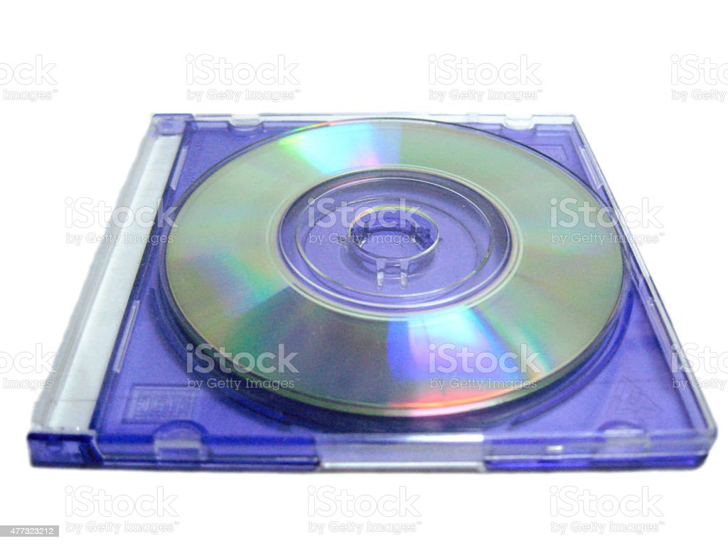 Compact disk lay over blue clear box stock photo