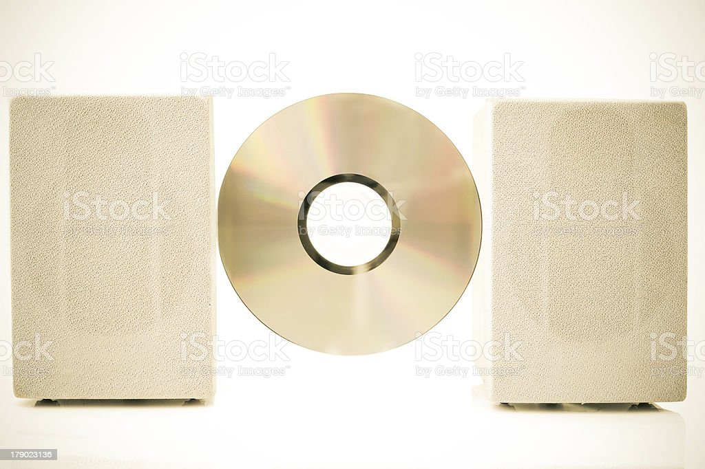 Compact Disk, Speakers color processed sepia royalty-free stock photo
