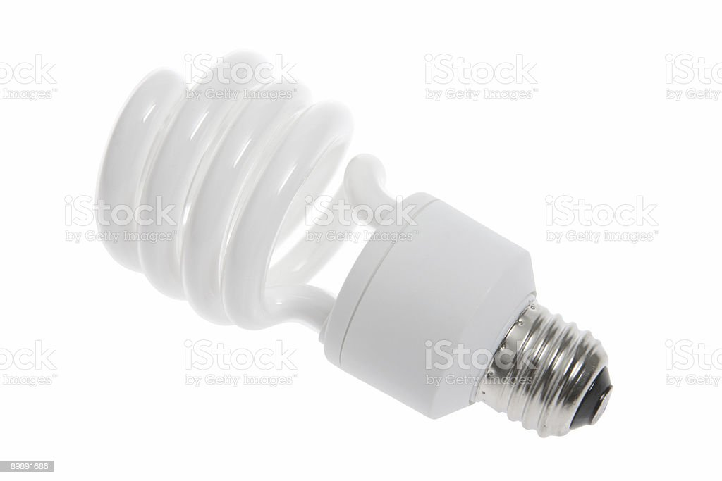 Compact Florescent Lightbulb (Isolated) stock photo