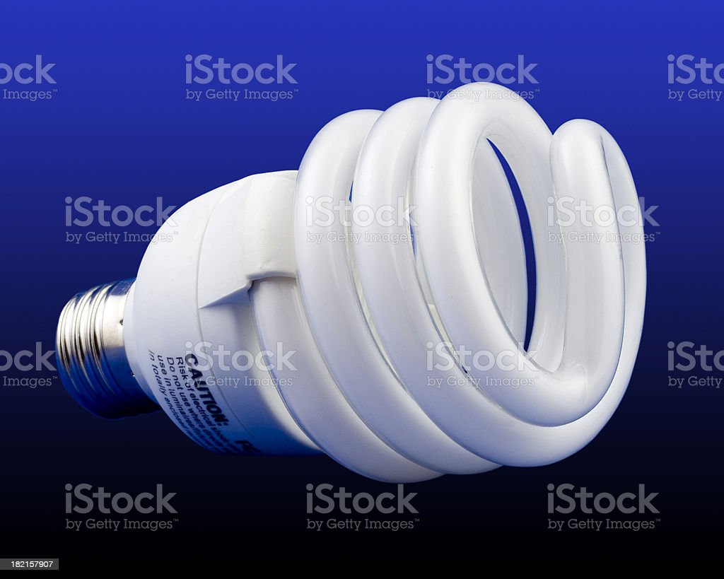 compact flourescent lamp w/ clipping path stock photo