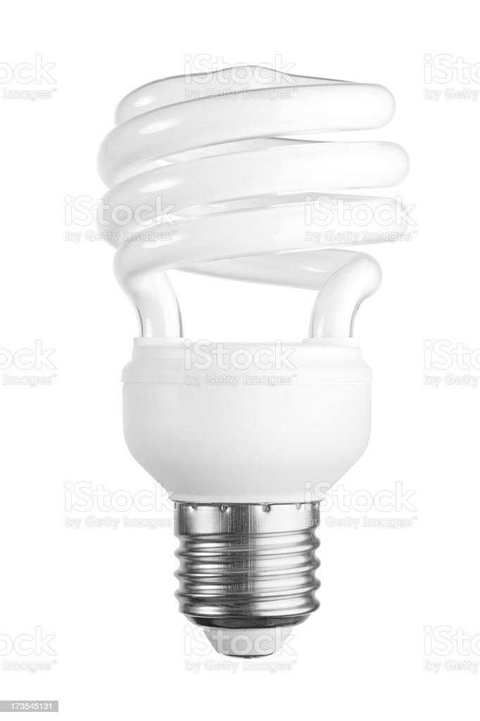 Compact Fluorescent Lamp + Clipping Path royalty-free stock photo