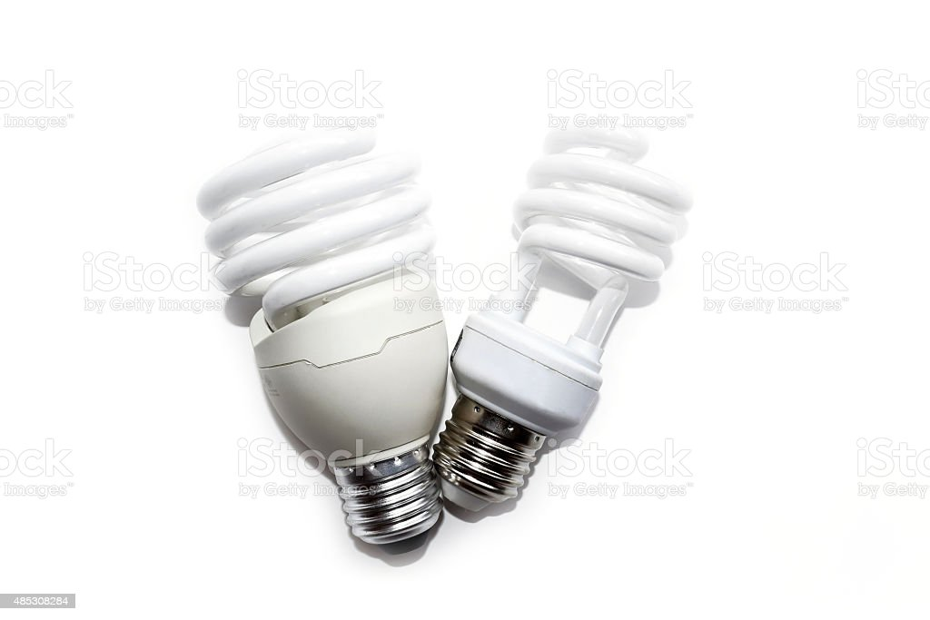 Compact fluorescent lamps isolate on white background stock photo