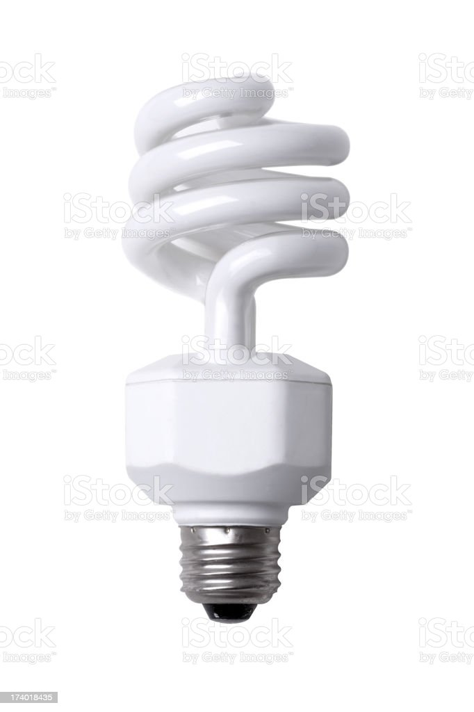 Compact Fluorescent Light Bulb XXL with path stock photo