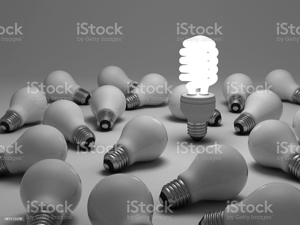 Compact fluorescent lightbulb stock photo
