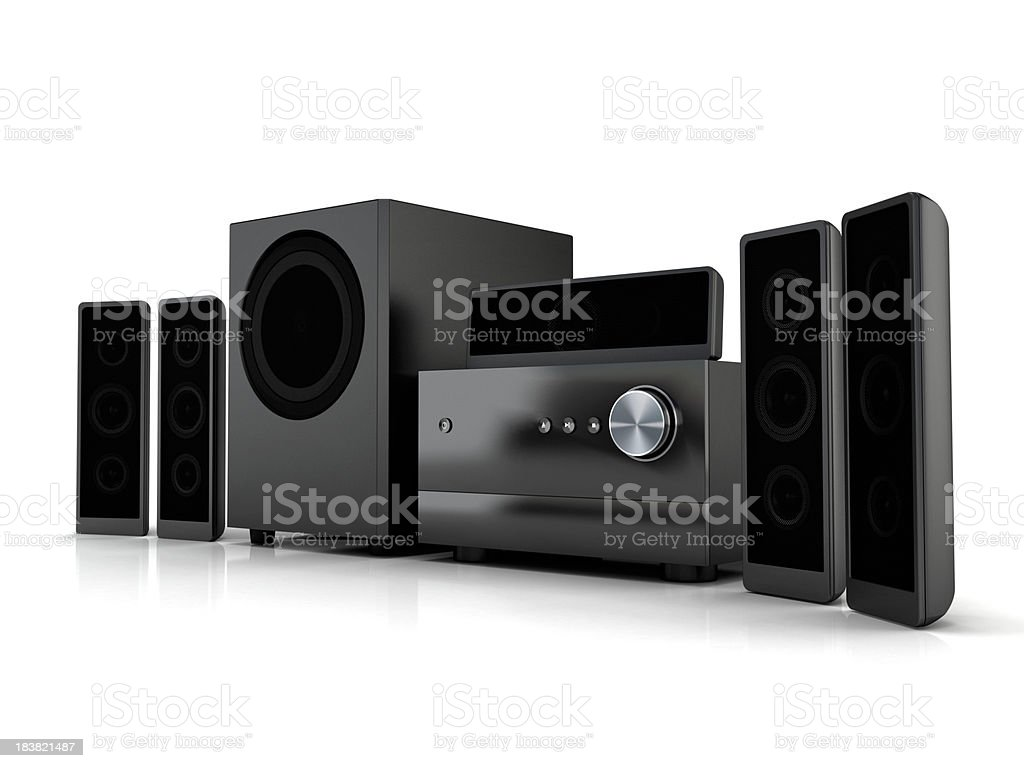Compact home theater system stock photo