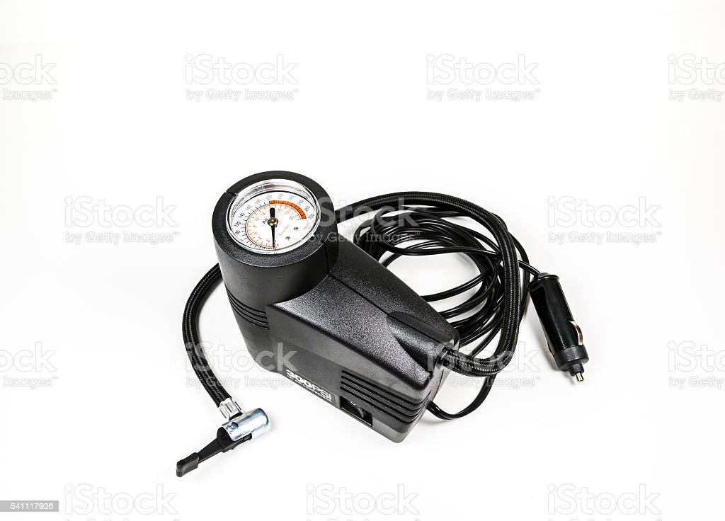 compact inflation machine with gauge number. stock photo