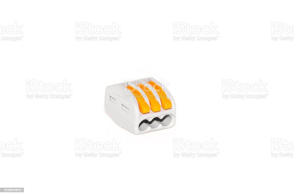 Compact splicing connector isolated on white background stock photo
