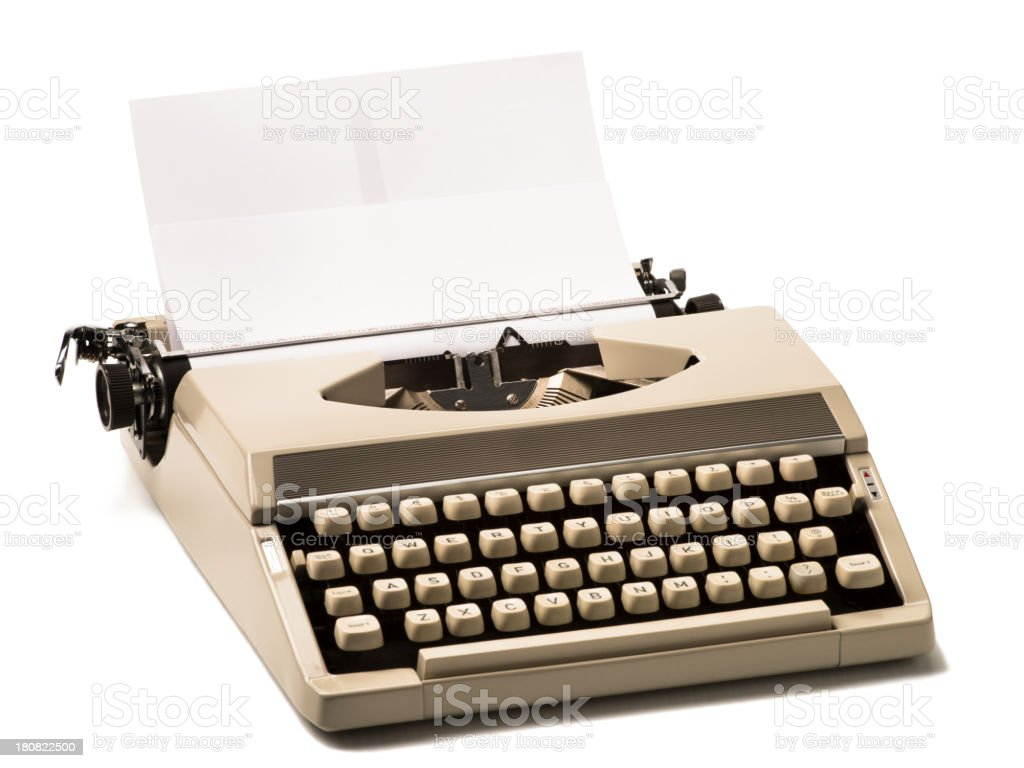 Compact Typewriter Isolated on White Background royalty-free stock photo