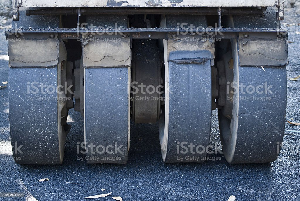 compactor roller during road stock photo