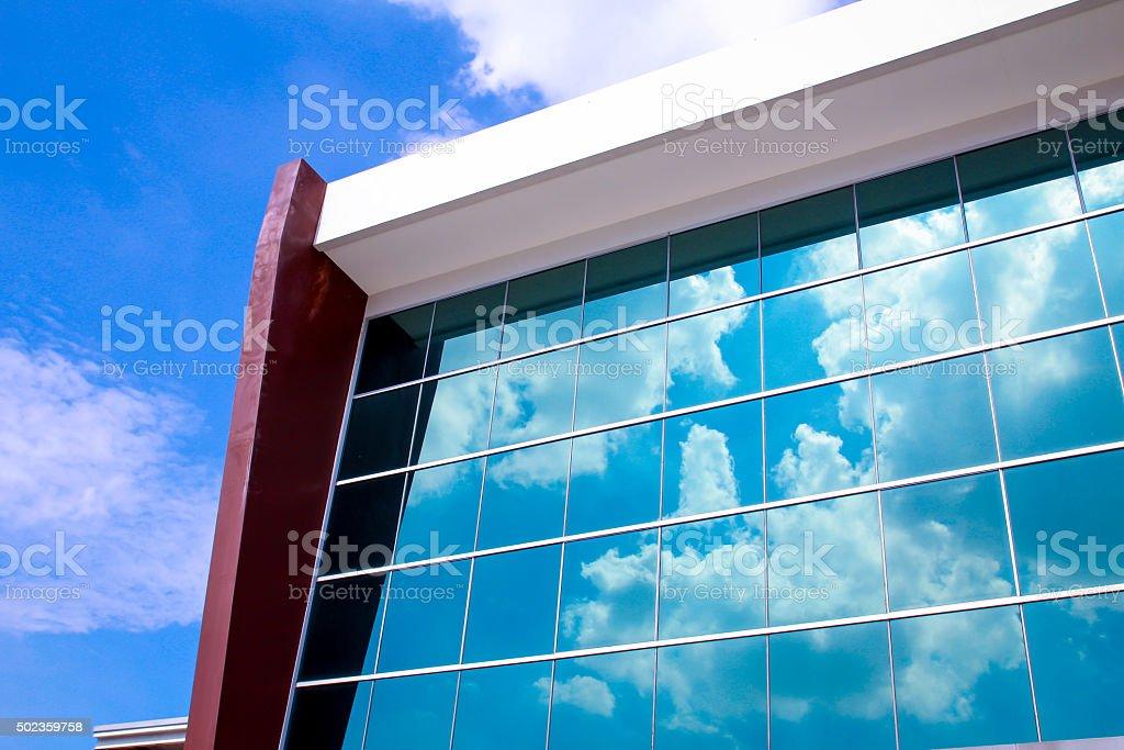 Company building window glass stock photo