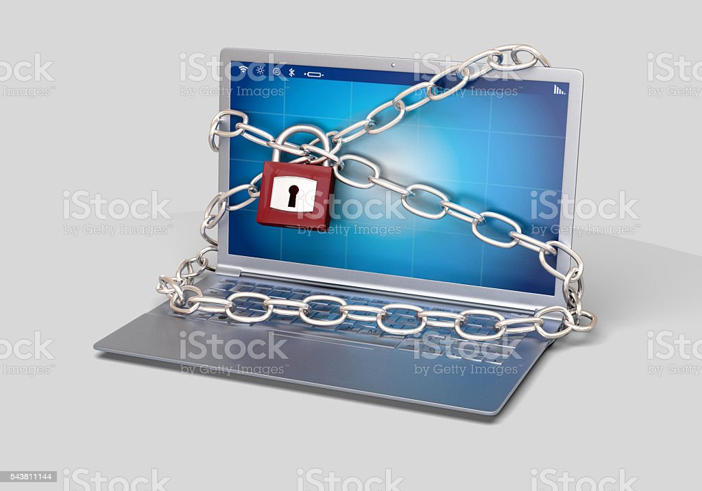Company Computer is locked with a padlock stock photo