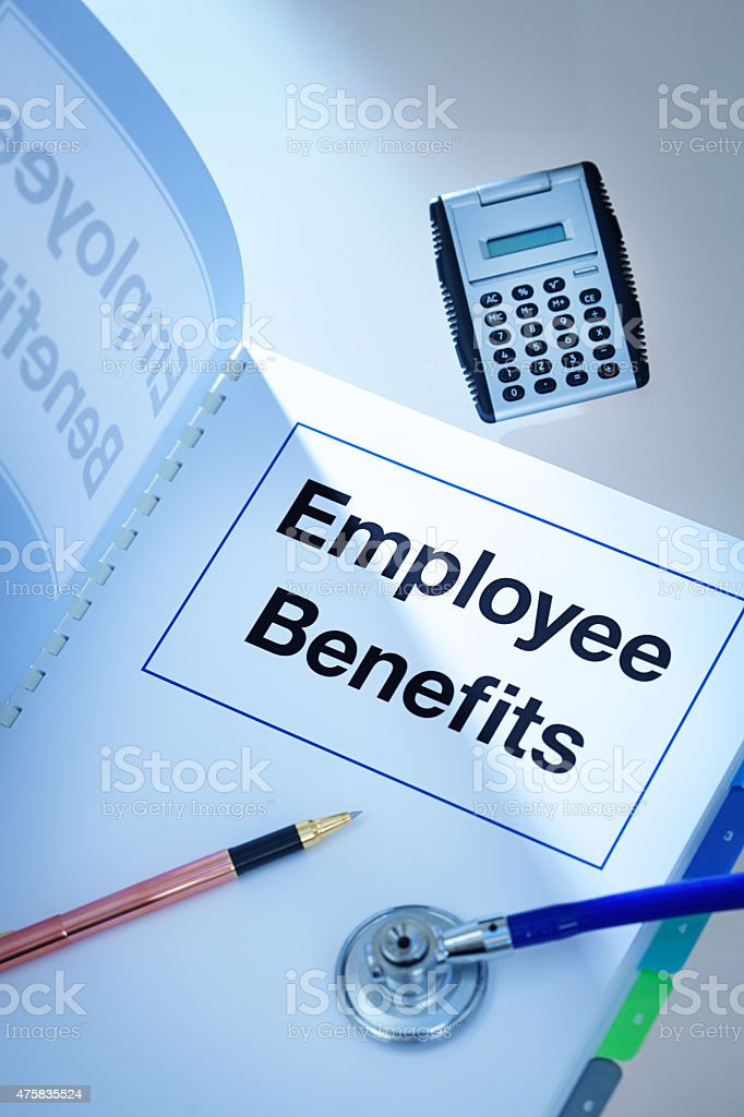 Company Employee Benefits Manual Opening to Outline Employment Occupation Package stock photo