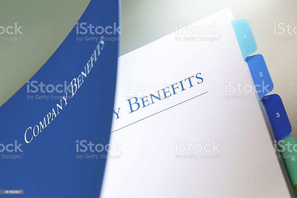 Company Employee Benefits Manual stock photo