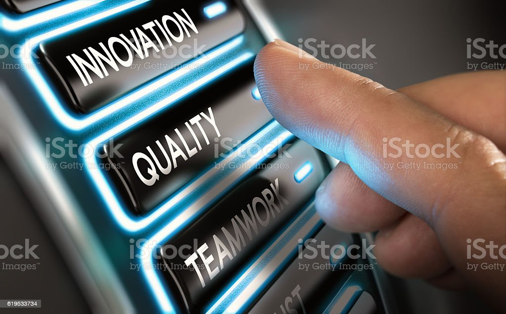 Company Values, Innovation, Quality and Teamwork stock photo
