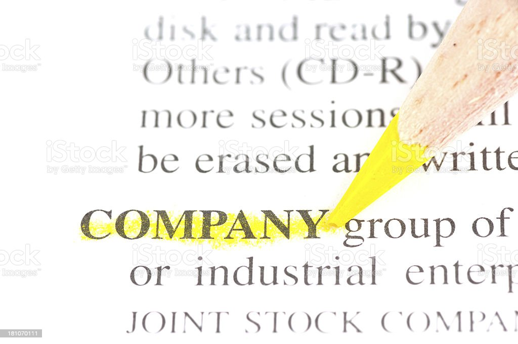 company word defintion marked in dictionary royalty-free stock photo