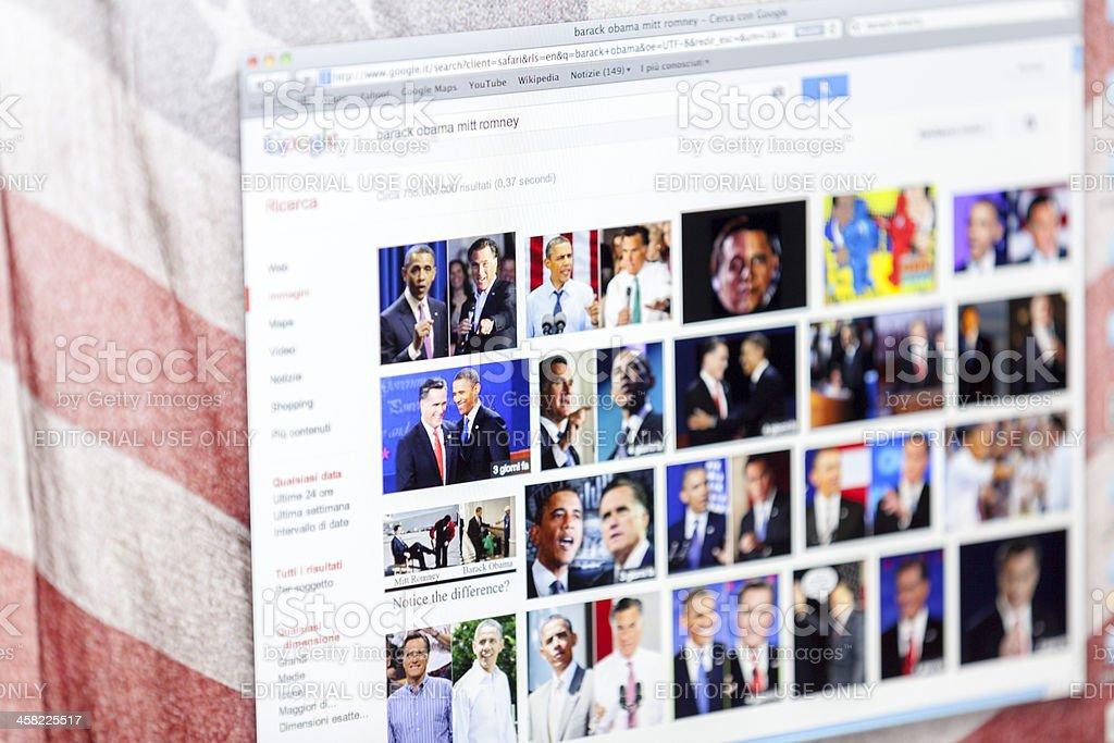 Compare Barack Obama and Mitt Romney on Google Images stock photo