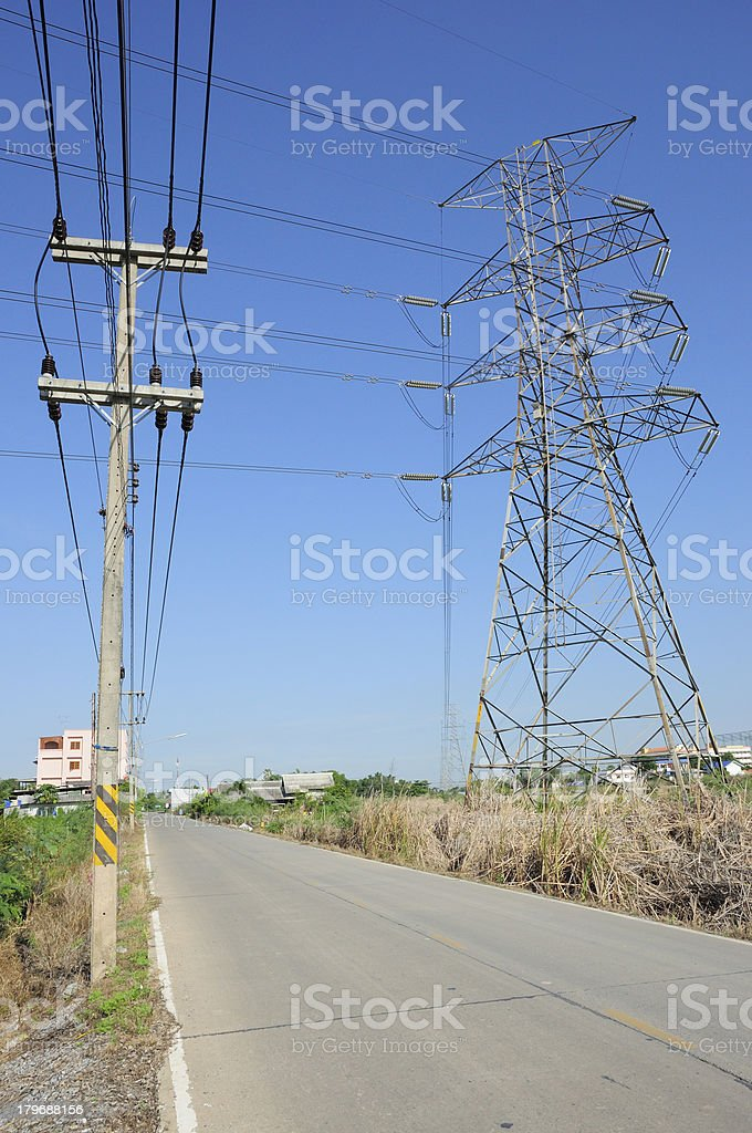 Compare electric transmission line royalty-free stock photo