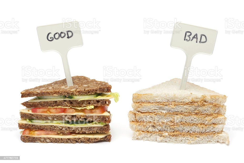 Comparing Foods - Brown Bread & White Bread stock photo
