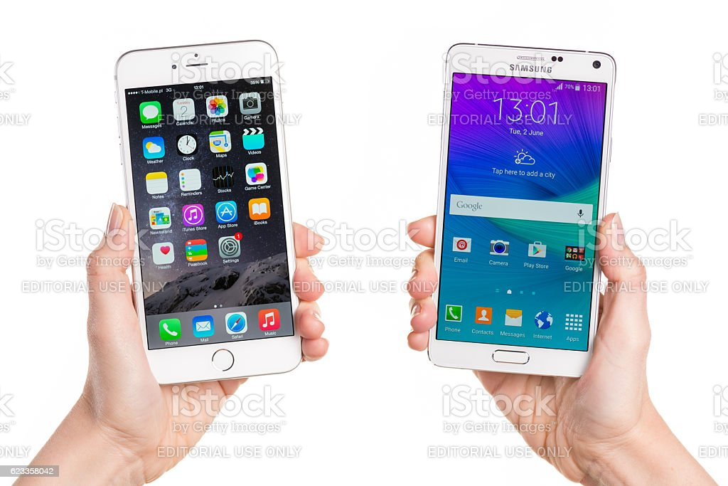 Comparing iPhone 6 Plus and Samsung Galaxy Note 4 stock photo