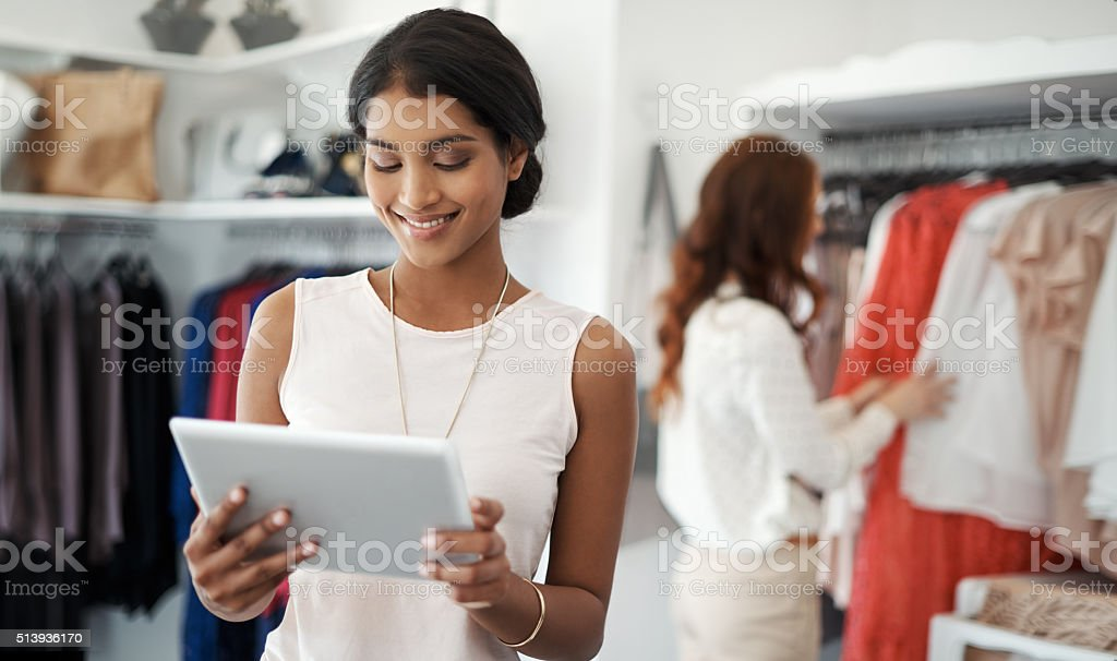 Comparing prices online stock photo