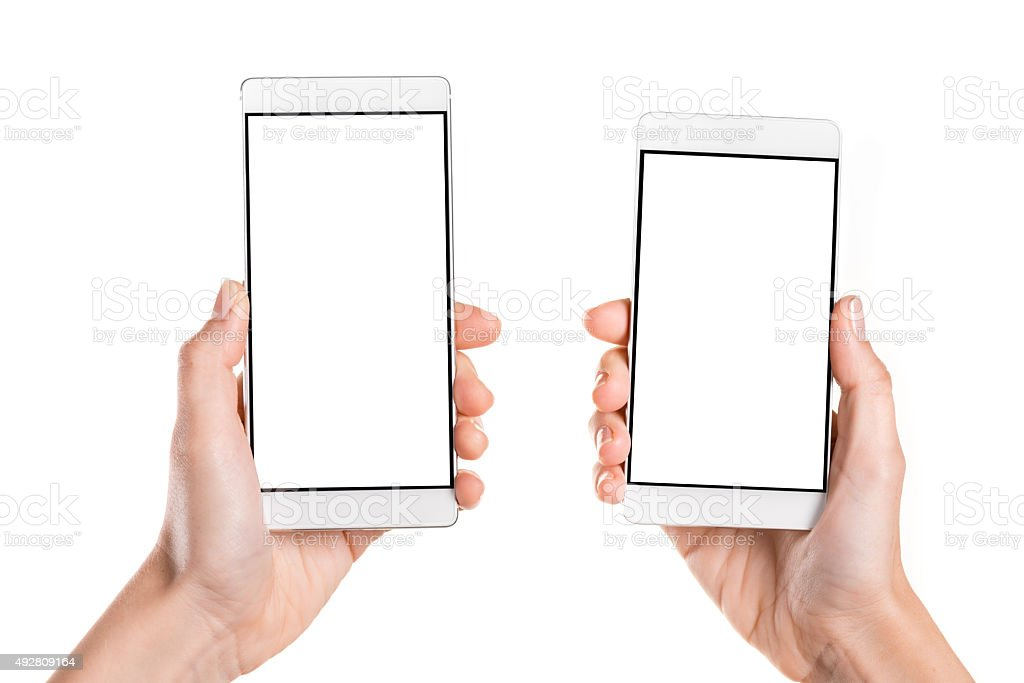 Comparing two generic smart phone with a blank screen stock photo