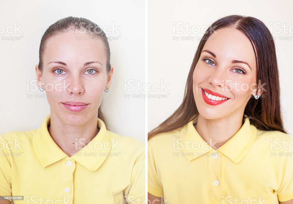 comparison of photos before and after makeup and hairstyling stock photo
