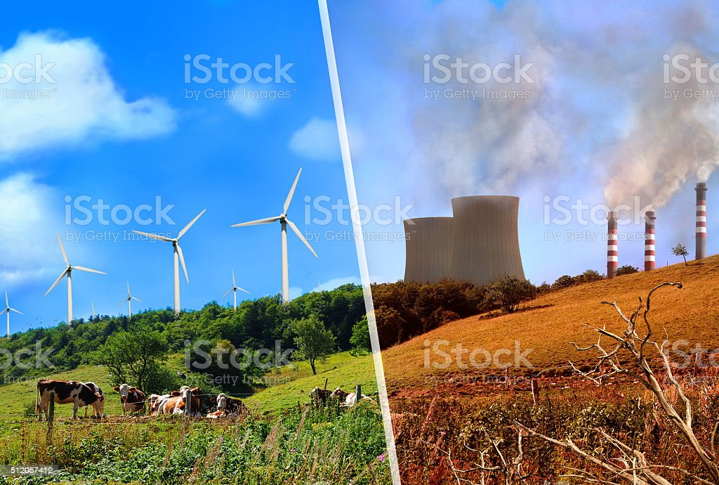 Comparison of plant renewable energy and energy factories classi stock photo