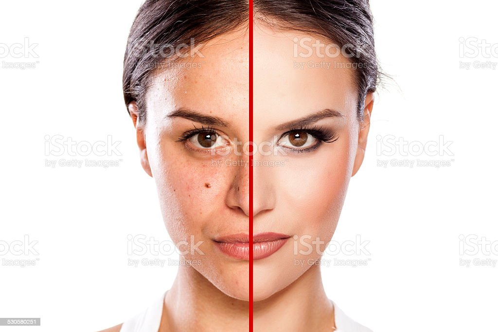 Comparison portrait of a girl without and with makeup on stock photo