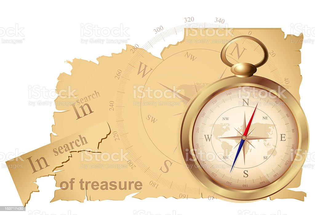 compass and a map of treasures stock photo