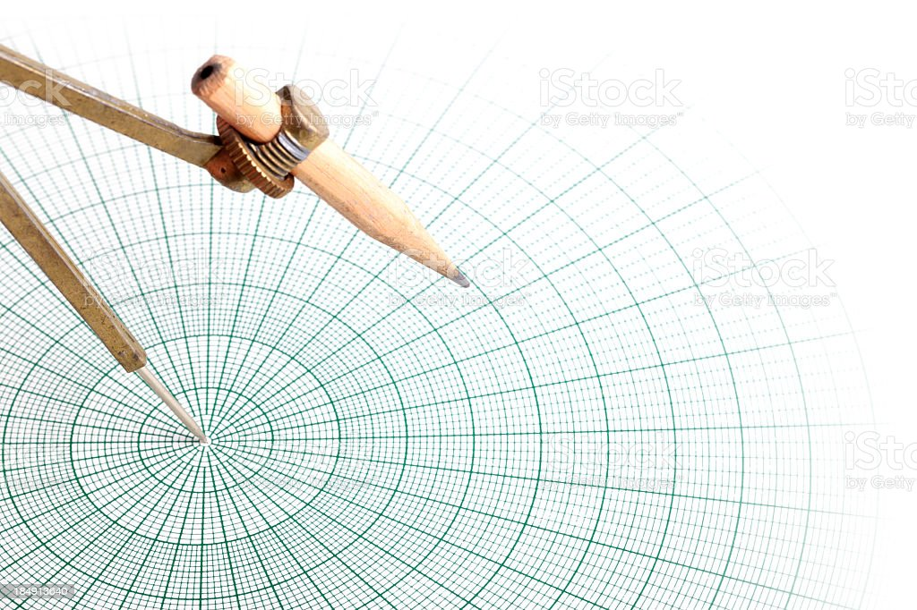 Compass and Circular Graph Paper royalty-free stock photo